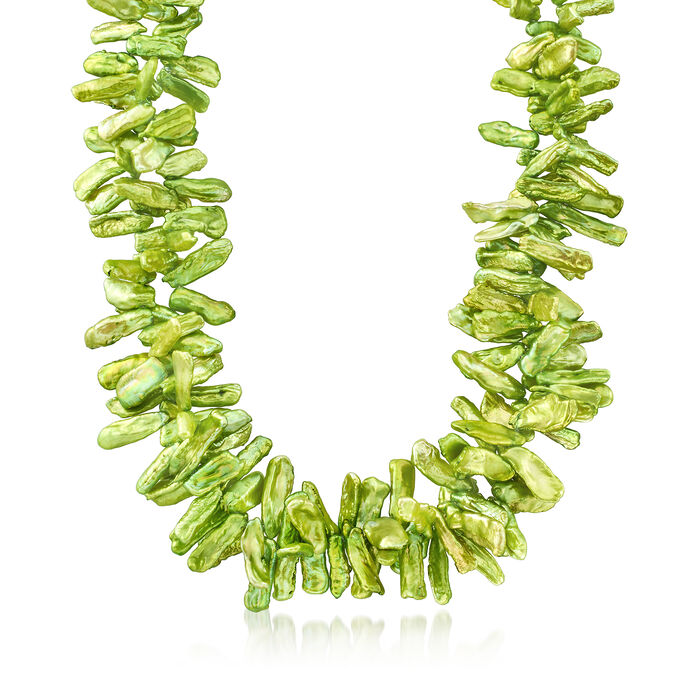 """Green Cultured Baroque Biwa Pearl Necklace in Sterling Silver. 18.75"""", , default"""