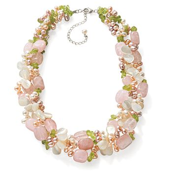 "4-5mm Multicolored Cultured Pearl and Multi-Stone Torsade Necklace with Sterling Silver. 19"", , default"