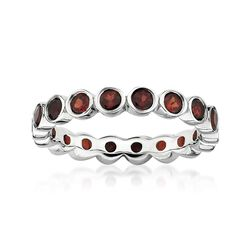 1.40 ct. t.w. Bezel-Set Garnet Eternity Band in Sterling Silver, , default
