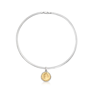 Sterling Silver 4mm Omega Necklace with Lira Coin Charm, , default