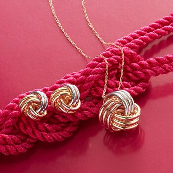 14kt Tri-Colored Gold Love Knot Pendant Necklace, , default