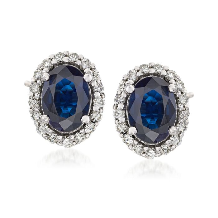 1.60 ct. t.w. Sapphire and .34 ct. t.w. Diamond Frame Earrings in 14kt White Gold