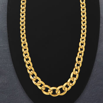 Italian 14kt Yellow Gold Graduated Curb-Link Necklace
