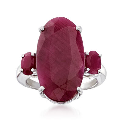15.20 ct. t.w. Three-Stone Ruby Ring in Sterling Silver, , default