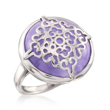 Purple Jade Ring in Sterling Silver. Size 7, , default