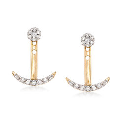 .25 ct. t.w. Diamond Jewelry Set: Stud Earrings and Anchor Front-Back Jackets in 14kt Gold, , default