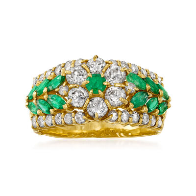 C. 1980 Vintage 1.21 ct. t.w. Diamond and .84 ct. t.w. Emerald Flower Ring in 18kt Yellow Gold
