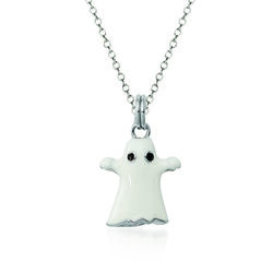 """Sterling Silver and White Enamel Ghost Charm Necklace. 18"""", , default"""
