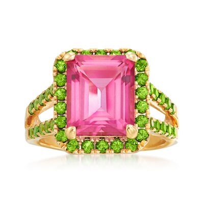 1.10 Carat Pink Topaz and 1.00 ct. t.w. Green Chrome Diopside Ring in 18kt Gold Over Sterling
