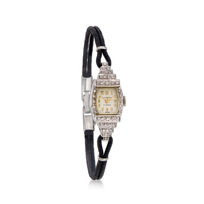 C. 1950 Vintage Women's 13mm Mechanical .20 ct. t.w. Diamond Watch in 14kt White Gold, , default