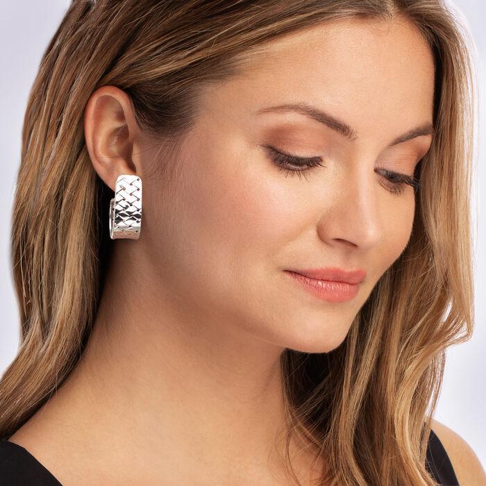 Italian Sterling Silver Basketweave J-Hoop Earrings