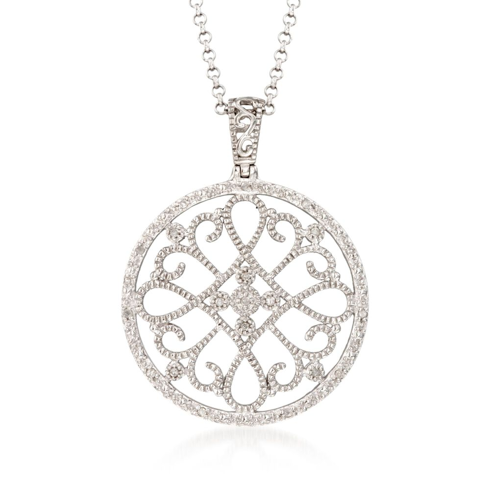 10 ct tw diamond filigree circle pendant necklace in sterling tw diamond filigree circle pendant necklace in sterling silver 18quot aloadofball Gallery