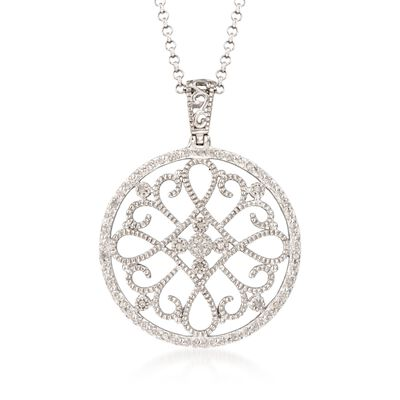 .10 ct. t.w. Diamond Filigree Circle Pendant Necklace in Sterling Silver, , default