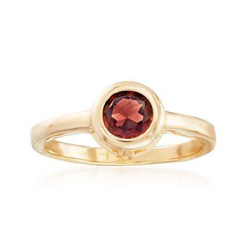 1.10 Carat Bezel-Set Garnet Ring in 18kt Gold Over Sterling, , default