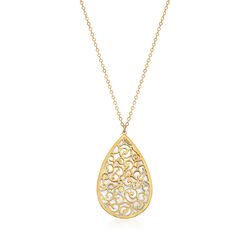 Italian Mother-Of-Pearl Filigree Pendant Necklace in 14kt Yellow Gold, , default
