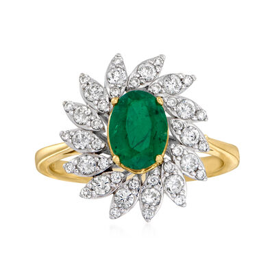1.10 Carat Emerald and .55 ct. t.w. Diamond Ring in 14kt Two-Tone Gold