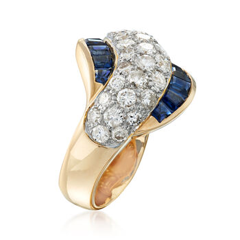 C. 1990 Vintage 2.28 ct. t.w. Diamond and 2.22 ct. t.w. Sapphire Sash Ring in 18kt Yellow Gold. Size 6.5, , default