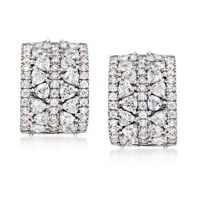 2.70 ct. t.w. CZ Curved Earrings in Sterling Silver