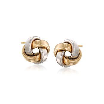 14kt Two-Tone Gold Love Knot Stud Earrings, , default