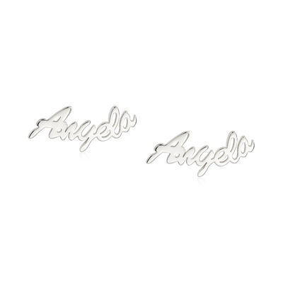 Sterling Silver Script Name Post Earrings, , default