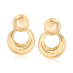 Italian 18kt Yellow Gold Dooknocker Drop Earrings, , default