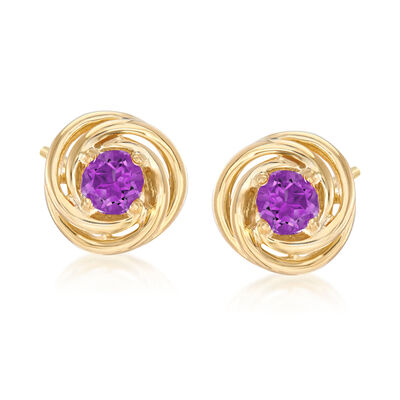 1.00 ct. t.w. Amethyst Love Knot Earrings in 18kt Gold Over Sterling Silver