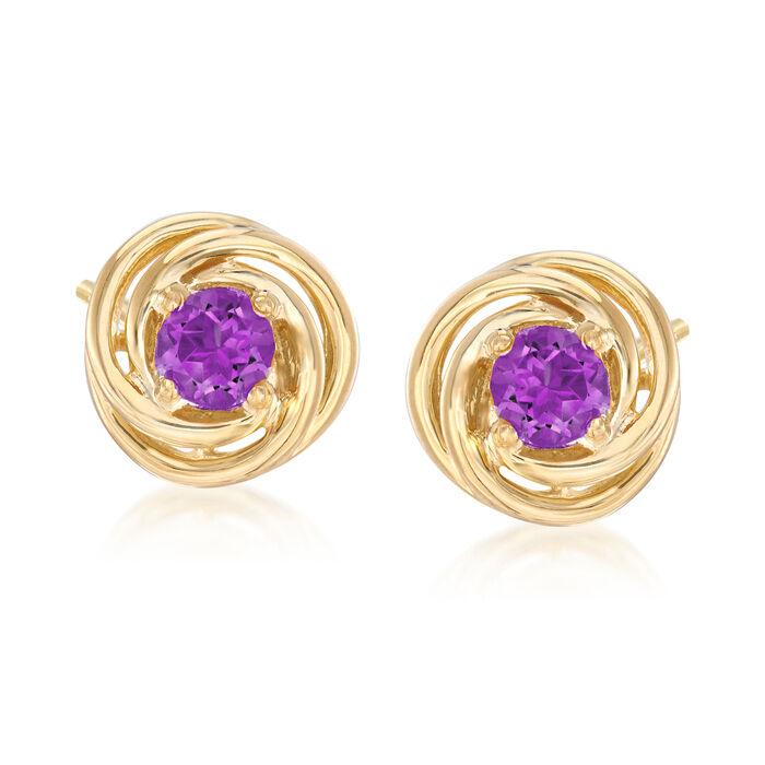 1.00 ct. t.w. Amethyst Love Knot Earrings in 18kt Gold Over Sterling Silver
