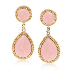 Pink Opal Teardrop Earrings With Diamond Accents in 14kt Yellow Gold , , default