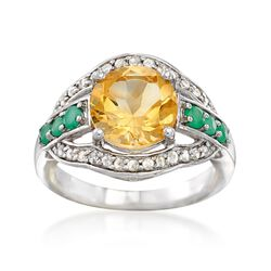 2.50 Carat Citrine and .26 ct. t.w. Emerald Ring With Diamonds in Sterling, , default