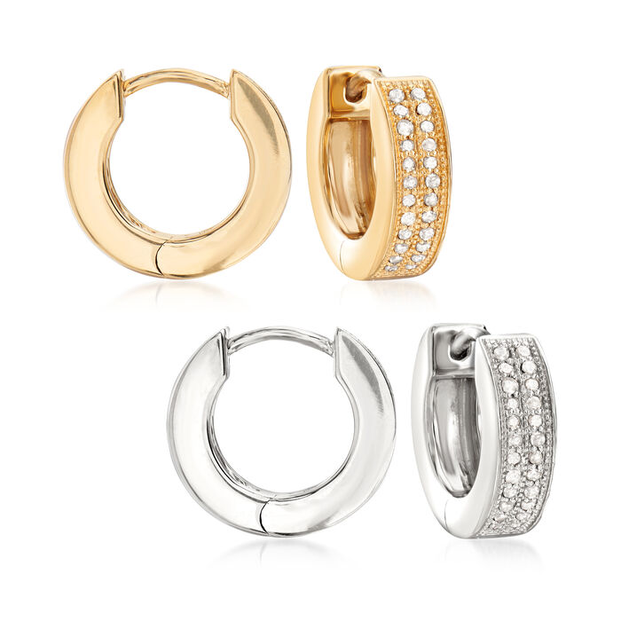 """.25 ct. t.w. Diamond Jewelry Set: Two Pairs of Hoop Earrings in Sterling Silver and 18kt Gold Over Sterling. 1/2"""", , default"""