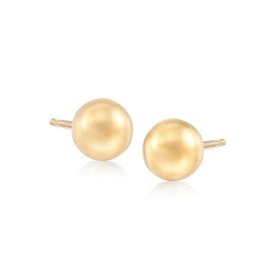 6mm 18kt Yellow Gold Ball Stud Earrings, , default