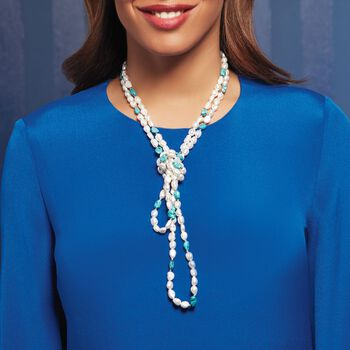 7.5-8.5mm Cultured Pearl and 7-9mm Turquoise Bead Endless Necklace with Sterling Silver Shortener. 72""