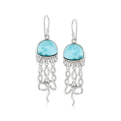 Larimar Jellyfish Drop Earrings in Sterling Silver, , default