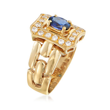 C. 1980 Vintage .70 Carat Sapphire and .35 ct. t.w. CZ Ring in 18kt Yellow Gold. Size 6