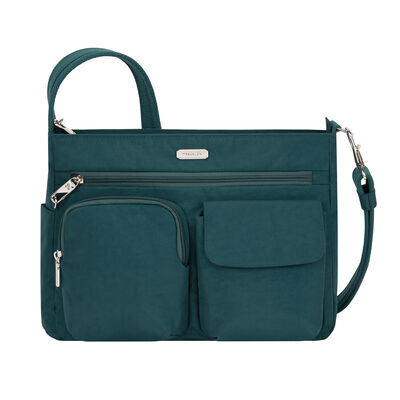 Anti-Theft Essential Patch Pocket Green Crossbody Bag