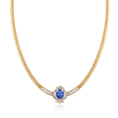 C. 1980 Vintage 3.20 Carat Tanzanite and 2.75 ct. t.w. Diamond Necklace in 14kt Yellow Gold, , default
