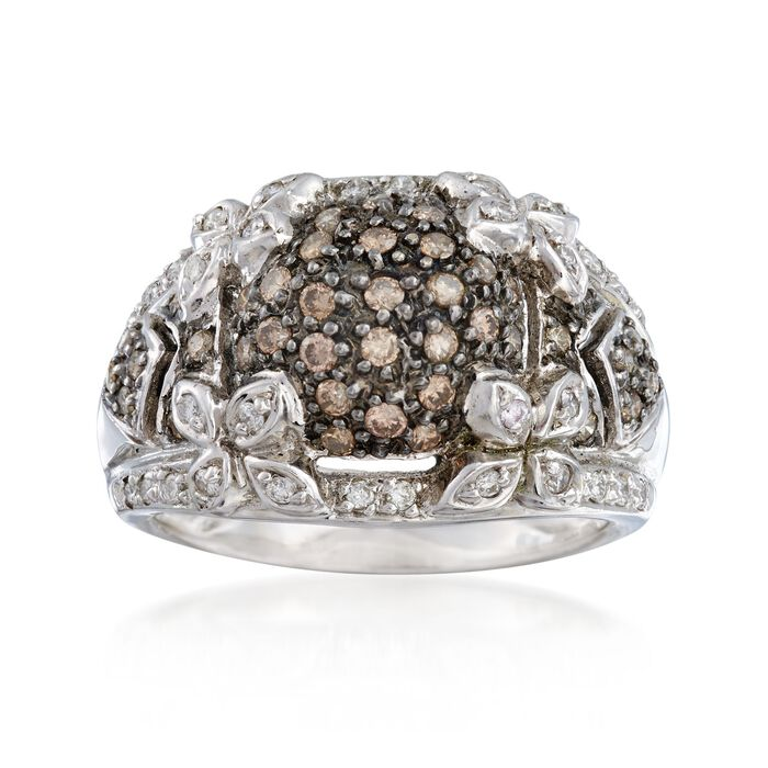C. 1990 Vintage .85 ct. t.w. Brown and White Diamond Floral Ring in 14kt White Gold. Size 7, , default