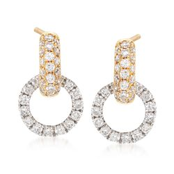 .75 ct. t.w. Diamond Doorknocker Earrings in 14kt Two-Tone Gold, , default