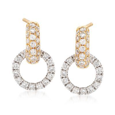 .75 ct. t.w. Diamond Doorknocker Earrings in 14kt Two-Tone Gold, , default