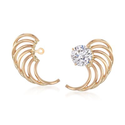 14kt Yellow Gold Open Wing Earring Jackets, , default
