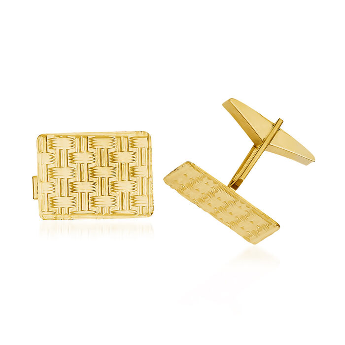 14kt Yellow Gold Basketweave Cuff Links, , default