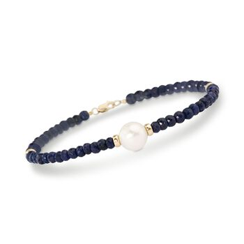 28.00 ct. t.w. Beaded Sapphire Bracelet With 10mm Cultured Pearl in 14kt Yellow Gold, , default