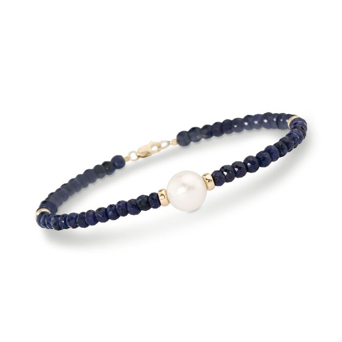 Cultured Pearl and 28.00 ct. t.w. Beaded Sapphire Bracelet in 14kt Yellow Gold, , default