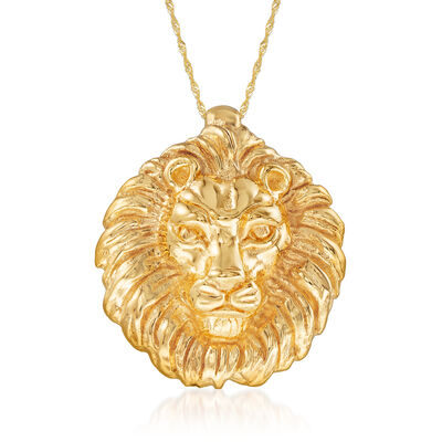 Italian 14kt Yellow Gold Lion Slide Pendant Necklace
