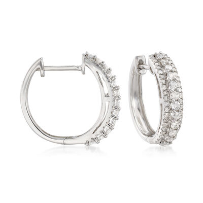 1.00 ct. t.w. Multi-Row Diamond Hoops in 14kt White Gold , , default