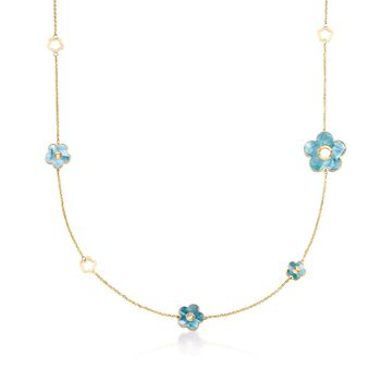 "10-25mm Green and White Mother-Of-Pearl Flower Station Necklace in 18kt Yellow Gold. 39"", , default"