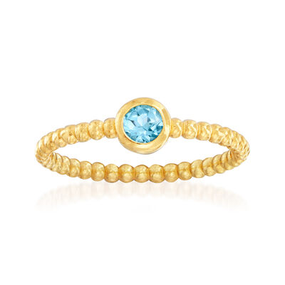 "Phillip Gavriel ""Popcorn"" .30 Carat Blue Topaz Beaded Ring in 14kt Yellow Gold, , default"