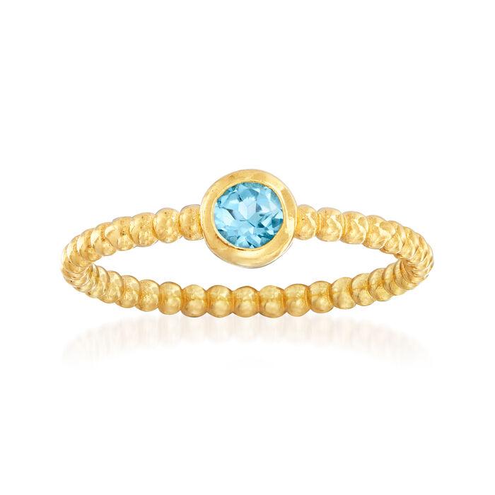"Phillip Gavriel ""Popcorn"" .30 Carat Blue Topaz Beaded Ring in 14kt Yellow Gold. Size 7, , default"