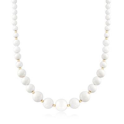White Agate Bead Necklace in 14kt Yellow Gold, , default