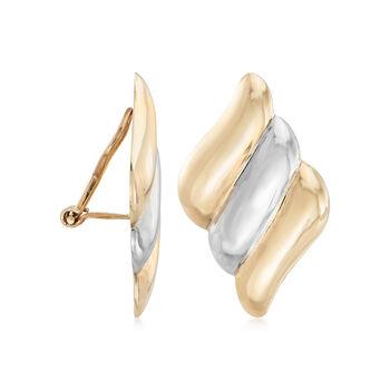14kt Two-Tone Gold Diagonal Stripe Clip-On Earrings, , default